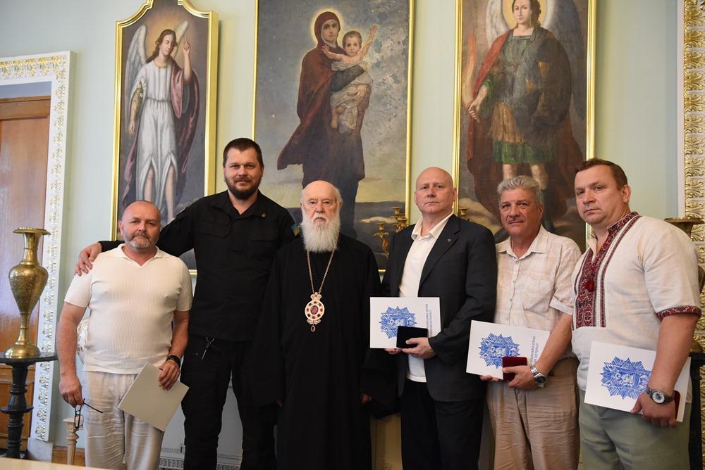 Патріарх Філарет зустрівся з ветеранами 11-го батальйону територіальної оборони «Київська Русь»