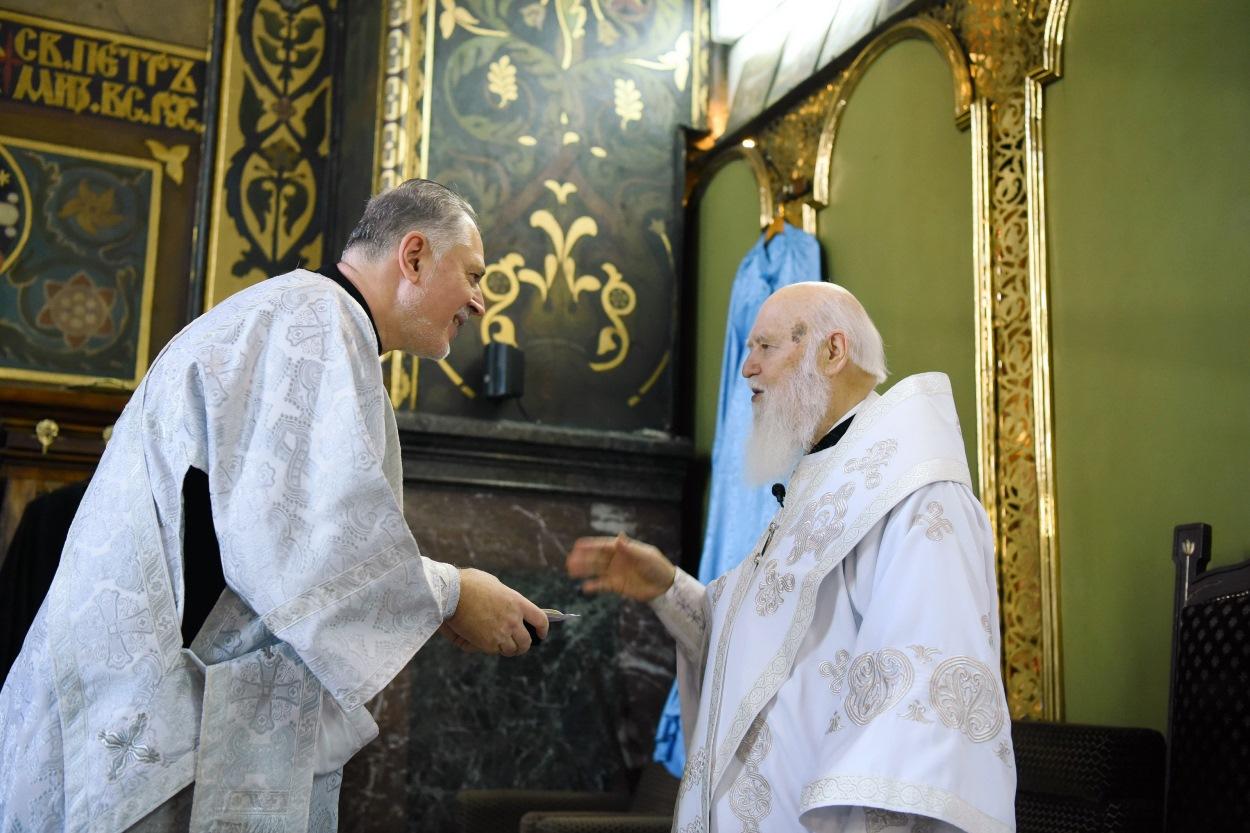 Святійший Патріарх Філарет привітав протодиякона Олега Гриня з ювілеєм