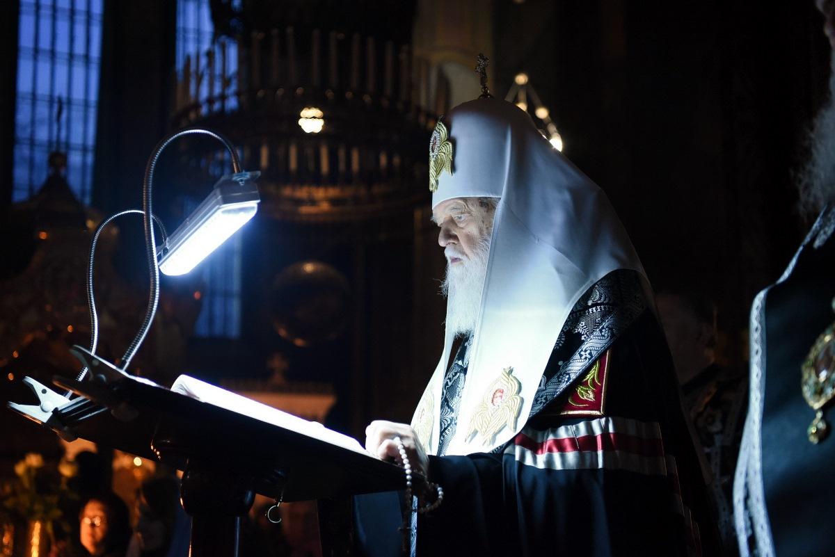 Патріарх Філарет звершив Велике повечір'я з читанням першої частини Покаянного канону преподобного Андрія Критського