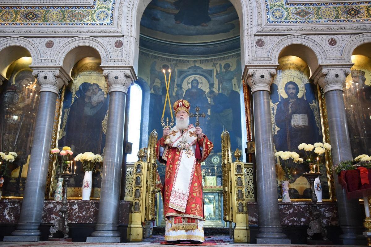 У неділю після Воздвиження Патріарх Філарет очолив Божественну літургію у Володимирському соборі