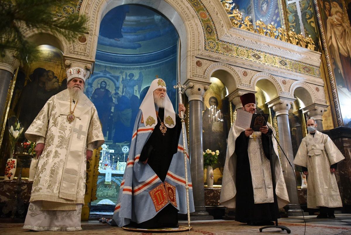 Духовенство та віряни привітали Святійшого Патріарха Філарета з Різдвом Христовим