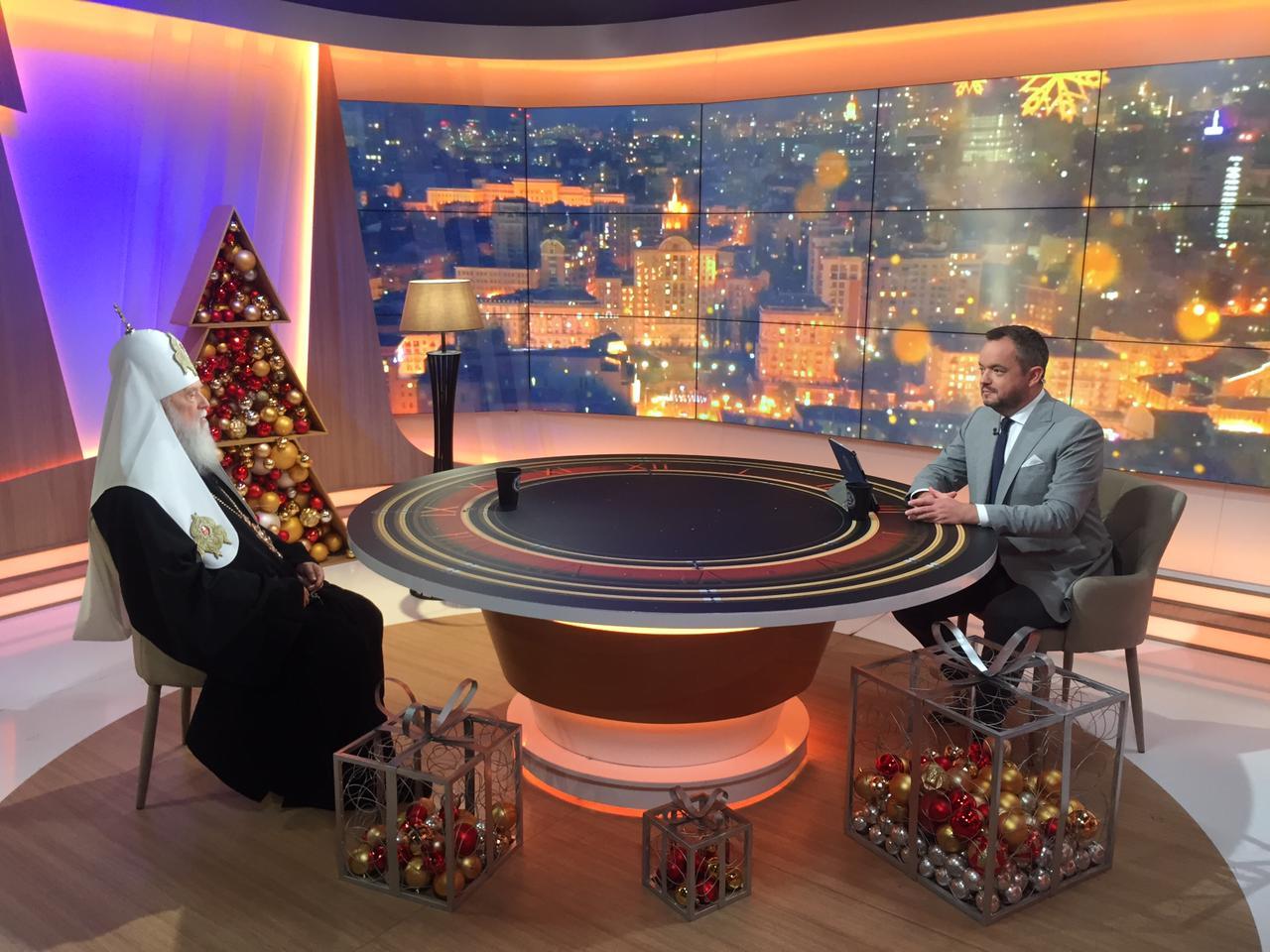 """Патріарх Філарет взяв участь у програмі """"Час Голованова"""" на телеканалі """"Україна 24"""" (ВІДЕО)"""