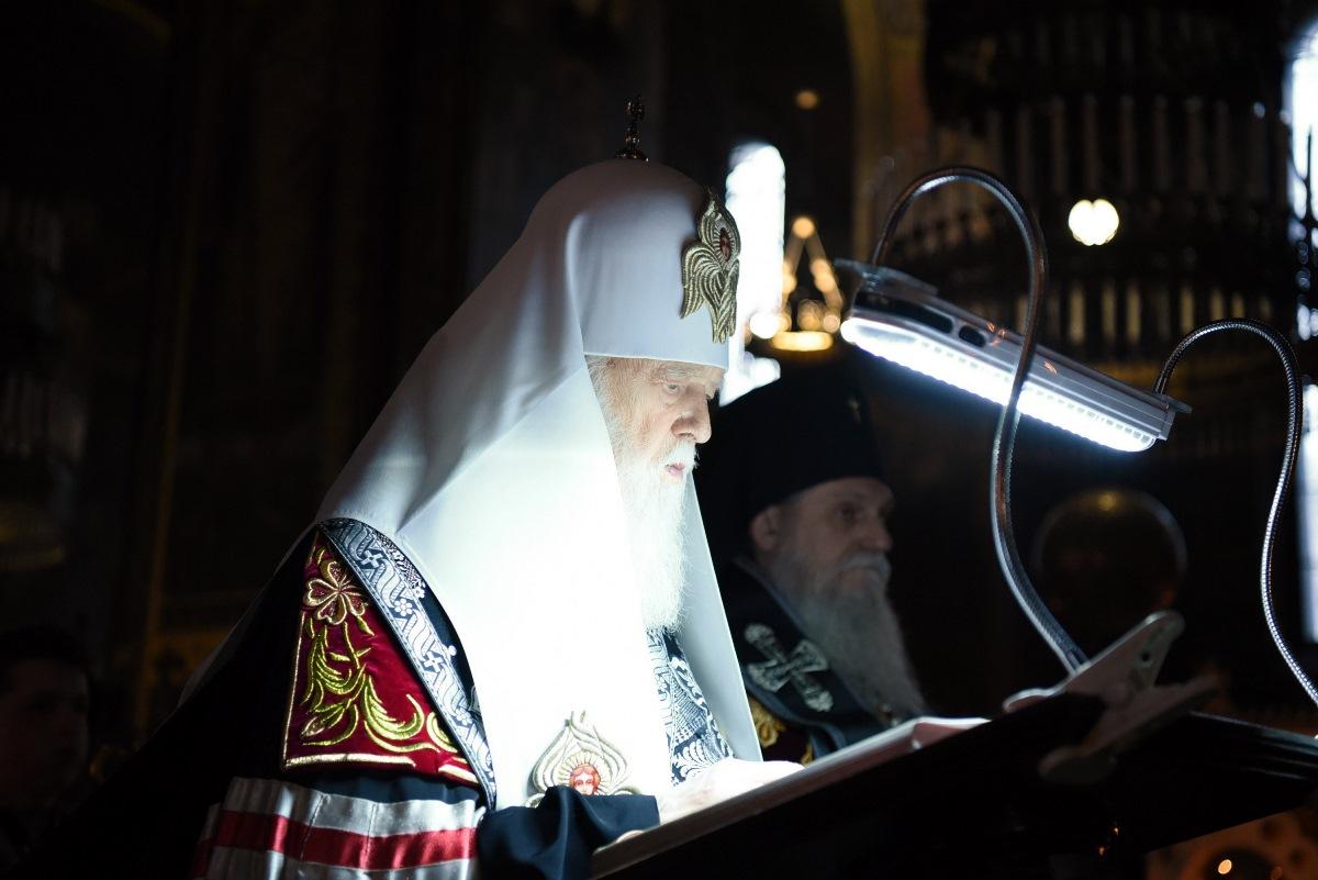 Святійший Патріарх Філарет звершив ранню з читанням Великого покаянного канону прп. Андрія Критського