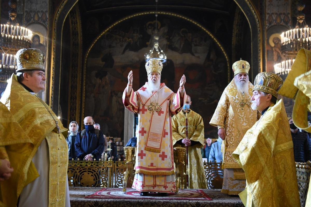 У неділю тринадцяту після П'ятидесятниці Патріарх Філарет очолив Божественну літургію