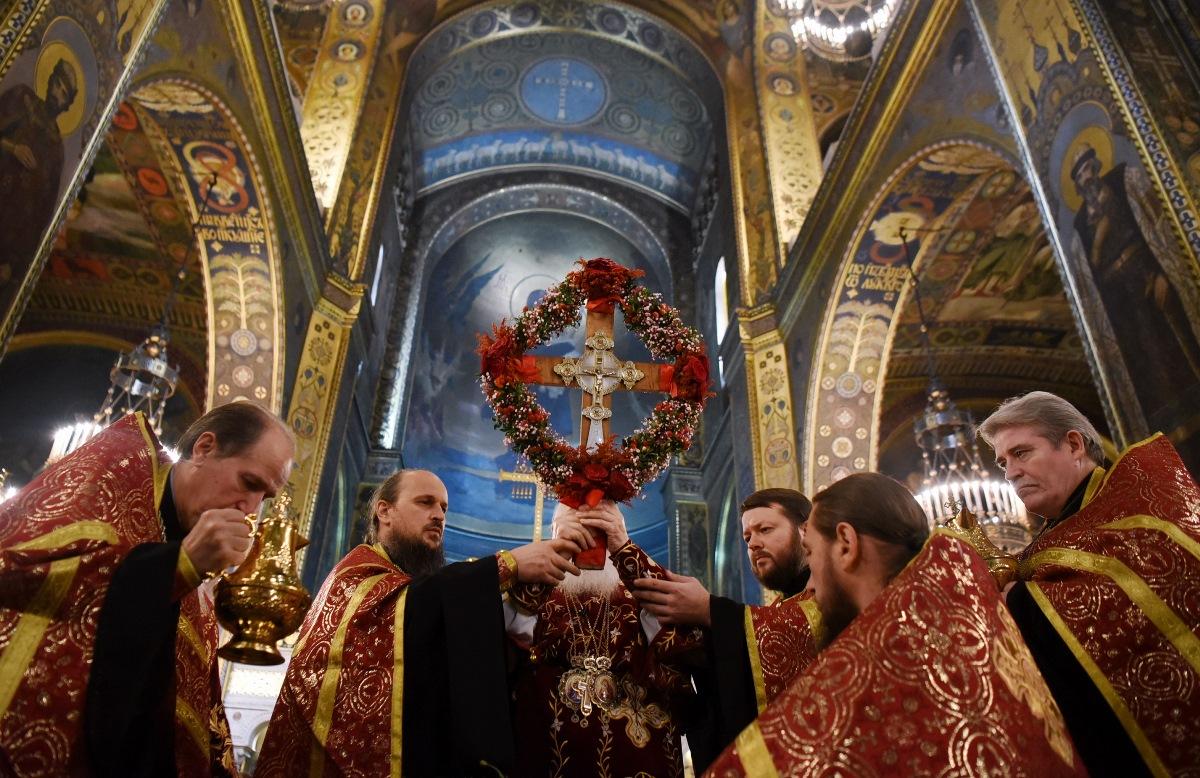 Святійший Патріарх Філарет очолив Всенічне бдіння з чином Воздвиження Хреста Господнього